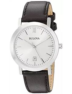 Bulova Unisex Stainless Steel Watch with Brown Leather Band * See this great product. (This is an affiliate link) Fine Watches, Cool Watches, Watches For Men, Wrist Watches, Cheap Designer Watches, Bulova Mens Watches, Luxury Watch Brands, Stitching Leather, Stainless Steel Watch
