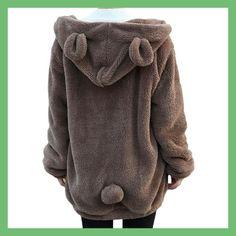 2017 Fashion Women Soft Lovely Bear Ear Fleece Warm Sweatshirts Long Sleeved Drop Shoulder Hooded Hoodies Casual Coat Outwear