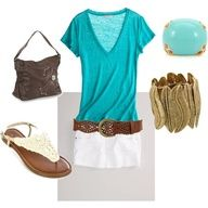 Teal shirt and a white jean skirt. I LOVE IT <3