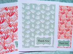 Lovely new  Thank You  cards ~ Made with heavy 110 lb white card stock ~ Layered with lovely nautical coral paper ~ Hand cut colorful card stock label printed with Thank You ~ These cards measure 4 1/4 x 5 1/2 and like all my cards, have been left blank to capture your own personal message.   Cards come with white envelopes & protective clear cellophane.   © sanddollargreetingcards