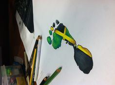 Jamaican footprint by: : Vandel_Royale Future Tattoos, New Tattoos, Girl Tattoos, Tattoos For Women, Hand Tattoos, Cover Tattoo, I Tattoo, Jamaican Tattoos, Jamaican Art