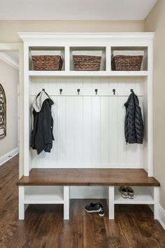 Modern Farmhouse Mudroom Hall Tree with Bench Hooks and Cubbies modernfarmhouse modernfarmhousedecor mudroom mudroomideas Modern Farmhouse Mudroom Hal… – Mudroom Mudroom Decor, Home, Farmhouse Remodel, Bedroom Design, Living Room Designs, Home Remodeling, House, Mudroom Design, Modern Farmhouse Kitchens