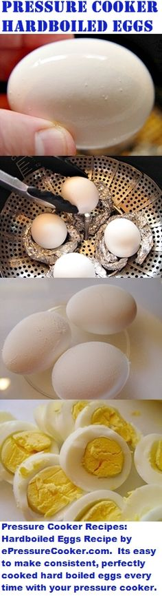 Pressure Cooker Recipes: Hardboiled Eggs Recipe by ePressureCooker.com . Its easy to make consistent, perfectly cooked hard boiled eggs that peel easily every time by pressure cooking them! Makes part of a great breakfast in bed or brunch for Mother's Day, Easter eggs, eggs for egg salad, or even a quick weekday breakfast.