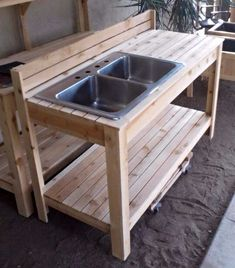 Potting Bench Plans with Sink Awesome Backyard Garden Ideas Ve Able Pots 65 Ideas for 2019 – simple country house plans Potting Bench With Sink, Outdoor Potting Bench, Potting Bench Plans, Potting Tables, Mud Kitchen, Kitchen Benches, Kitchen Decor, Kitchen Design, Kitchen Storage