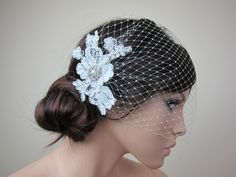 Ivory blusher birdcage veil with alencon lace BVF009n - i could make this!