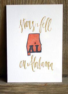 Stars Fell on Alabama letterpress print