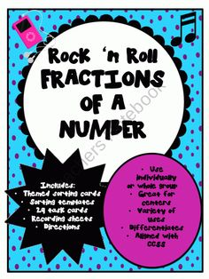 Fractions of a Number Rock n Roll product from Jill-039-s-shop on TeachersNotebook.com