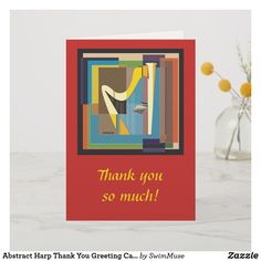 Shop Abstract Harp Thank You Greeting Card created by SwimMuse. Music Greeting Cards, Custom Greeting Cards, Thank You Greetings, Harp, Thoughtful Gifts, Smudging, Paper Texture, Abstract, Frame