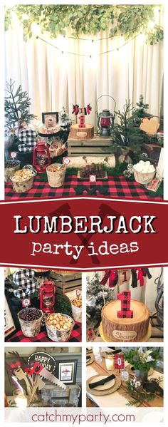 Take a look at this fun Lumberjack 1st birthdayparty! The log birthday cake is so cool!! See more party ideas an dshare yours at CatchMyParty.com #lumberjack #1stbirthday