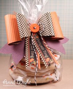 Paper bows and buttons.