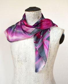 Violet And Gray Silk Scarf Leaves Silk Scarf by silkandmoreshop