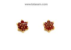 Gold Earrings for Women in 22K Gold With Ruby - GER6101 - Indian Jewelry from Totaram Jewelers