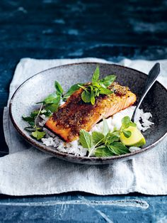 caramelised lemongrass salmon with coconut rice - Seafood Recipes Salmon Dishes, Fish Dishes, Seafood Dishes, Seafood Recipes, Cooking Recipes, Healthy Recipes, Fish And Seafood, Recipes Dinner, Dessert Recipes
