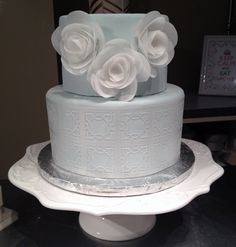 Tiered Rice Paper Flower Cake