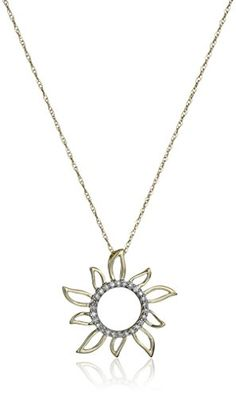 10k Yellow Gold Diamond Accent Sun Pendant Necklace *** Learn more by visiting the image link.Note:It is affiliate link to Amazon.