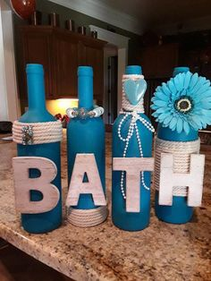 Wine Bottle Decor-BATH-Home Decor-Wine Bottles-Handcrafted-Twine Decor-Rustic Decor-Glass Décor-Vases-Farmhouse-Country-Jewelry-Turquoise Wine Bottle Art, Glass Bottle Crafts, Painted Wine Bottles, Diy Bottle, Twine Wine Bottles, Glass Bottles, Vodka Bottle, Wine Bottle Centerpieces, Vases