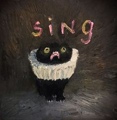 This Artist Can Sneak Her Cats Into Any Painting And It's Hilarious - Vanessa-Stockard-Kevin-The-Kitten - Art And Illustration, Black Cat Painting, Wow Art, Cute Art, Art Inspo, Amazing Art, Awesome, Art Drawings, Art Photography