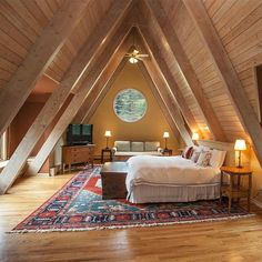 Attic Master Bedroom, Attic Bedroom Designs, A Frame House Plans, A Frame Cabin, Loft Room, Tiny House Cabin, Cool Rooms, House In The Woods, Architecture