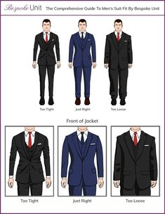 The Bespoke Unit team explains in detail the different parts of a tailored jacket and how each part is supposed to fit. Best guide to men's suits. Mens Suit Fit, Mens Suits, Dress Suits For Men, Suit And Tie, Mens Style Guide, Men Style Tips, Large Men Fashion, Style Fashion, Fashion Outfits