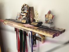 Hockey stick shelf. Made out of recycled hockey sticks.