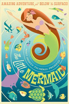 Cute idea...what a vintage poster of The Little Mermaid would look like. I loved Ariel when I was young.