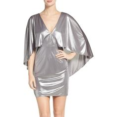 Women's Halston Heritage Cape Sleeve Dress ($345) ❤ liked on Polyvore featuring dresses, silver, silver dress, wrap style dress, sleeved dresses, jersey wrap dress and metallic cocktail dress