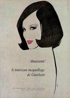 Amarante by Guerlain, 6 0 s  ad., L'officiel magazine.