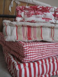 cushions... I use these outside in the summer & for kids on the floor. Look for on sale & collect for adding texture to rooms; FUN!