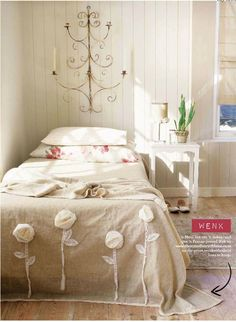 Chiffon  + lace flowers on bed spread or duvet cover (inspiring)