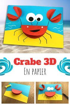 Vous allez en pincer pour ce crabe 3D en papier.  Pour ce bricolage, tout ce dont vous aurez besoin c'est : du papier, une paire de ciseaux, un marqueur et un stick de colle ! Summer Crafts For Toddlers, Animal Crafts For Kids, Summer Crafts For Kids, Paper Crafts For Kids, Craft Activities For Kids, Toddler Crafts, Projects For Kids, Preschool Activities, Art For Kids