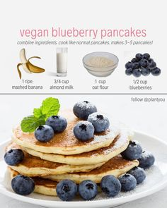 Vegan Blueberry Pancakes Healthy Pancakes Quick Plant Based Pancakes Banana Pancakes Plant based meal prep plans that feature whole foods oil free ingredients and vegan recipes Only cook twice a week eat more plants and feel amazing Healthy Blueberry Pancakes, Healthy Vegan Breakfast, Vegan Blueberry, Healthy Food, Vegan Pancakes, Vegan Foods, Vegan Desserts, Whole Food Recipes, Snack Recipes