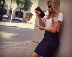 White tee with a pencil skirt