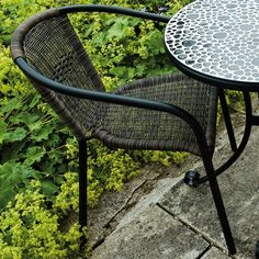 This super little chair is a great addition to any bistro table and can even go with bigger dining tables, the seat and back are made of synthetic weave and the metalwork is finished in black. Rattan Garden Chairs, Folding Garden Chairs, Patio Dining Chairs, Dining Arm Chair, Side Chairs, Dining Tables, Outdoor Rooms, Outdoor Dining, Outdoor Chairs