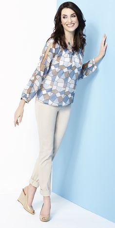 Cleo - Stained Glass Print Blouse with Cami