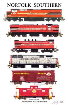 The brightly painted locomotives of Original Norfolk Southern truly make it a fan favorite. Hobby Trains, Old Trains, Train Illustration, Train Drawing, Rail Train, Train Posters, Railroad Pictures, Rail Transport, Railroad Photography