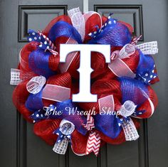Texas Rangers Mesh Wreath