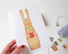 Greeting Card Bunny A6 by TheFoxintheAttic on Etsy, £2.75