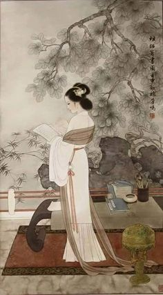 A painting of a scholarly lady by modern artist. Please note the desk in the painting. It's classic Ming-style furniture, simple, refined and elegant. Asian Artwork, Chinese Artwork, Chinese Painting, Art Chinois, Geisha Art, Art Asiatique, Art Japonais, China Art, Traditional Paintings
