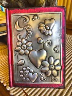 Pewter journal for Sophie Metal Art Projects, Metal Crafts, Diy Arts And Crafts, Paper Crafts, Metal Tape Art, Metal Artwork, Pewter Art, Pewter Metal, Aluminum Foil Crafts