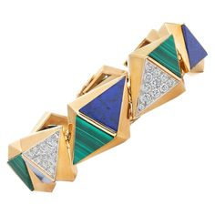 French 1970s Modernist Lapis Lazuli Malachite Diamond Gold Bracelet | From a unique collection of vintage more bracelets at https://www.1stdibs.com/jewelry/bracelets/more-bracelets/