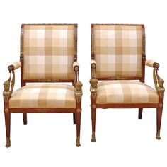 Pair Of French Empire Fauteuils In Mahogany W/ Bronze Doré Ormolu, Circa 1810 Antique French Furniture, Classic Furniture, Antique Armchairs, French Empire, Modern Armchair, French Antiques, Outdoor Chairs, Upholstery, Interior Decorating