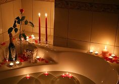 trail of rose petals and candle light | bath candlelight champaine, rose petals, strawberries, and candlelight ...