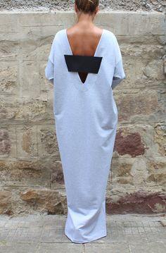 Grey Caftan Dress Oversized Dress Backless by cherryblossomsdress