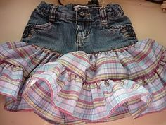 Another pinner wrote: Little Girl Jean Skirt Tutorial.  Worn out jeans do not always need to be turned into cut-offs. Or like Savannah has 24/2t pants that were starting to wear def could do this since she needs the 3T/4T for length