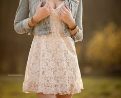 nothing i love more than a lace white sundress with a jean jacket
