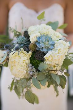 Succulent, Hydrangea, Thistle Bouquets   Red Shoes Photography https://www.theknot.com/marketplace/red-shoes-photography-denver-co-478821