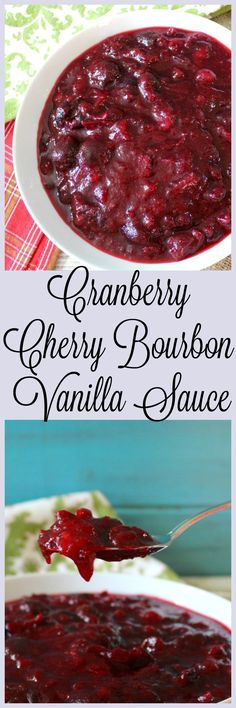 You can skip the sugar since cherries are naturally sweet! Cranberry Cherry Bourbon Vanilla Sauce - A sweet, yet tart cranberry sauce made with fresh cranberries, cherries and apple juice with the aroma of vanilla with hint of smokey bourbon. Canned Cranberry Sauce, Cranberry Recipes, Fall Recipes, Holiday Recipes, Holiday Meals, Cranberry Muffins, Vegan Thanksgiving, Thanksgiving Side Dishes, Pesto