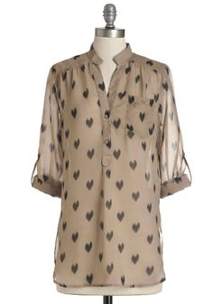 Love Ballad Tunic in Sheer Tan. What ever happened to long-awaited dates? #tan #modcloth