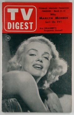 TV Digest - March 21st 1953, magazine from USA. Front cover photo of Marilyn Monroe by Frank Powolny, 1951.