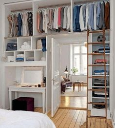 20 Genius Ways to Organize a Small Bedroom To Maximize Space No closet space? No 20 Genius Ways to Organize a Small Bedroom To Maximize Space No closet space? Small Room Bedroom, Small Apartments, Bedroom Design, Small Bedroom Organization, Shelves In Bedroom, Closet Small Bedroom, Small Room Design, Shelving Unit Bedroom, Room Design